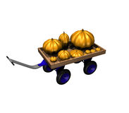 Variety of pumpkins on blue cart Royalty Free Stock Photo