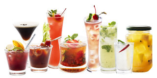 Variety of Punch and cocktail drink isolated stock photos