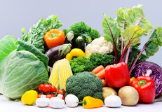 Variety of raw fresh produce from farmers market Stock Images