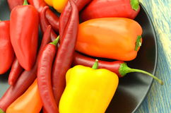 Variety of raw peppers Royalty Free Stock Photos