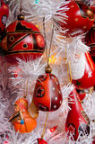 Variety of red Christmas tree decorations in Old town Stock Photography