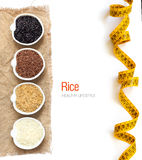 Variety of rice in bowls isolated on white Royalty Free Stock Photography