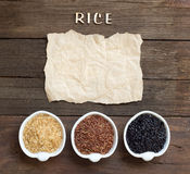 Variety of rice with craft paper and word Rice Stock Photo