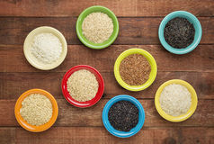 Variety of rice grains Stock Photos