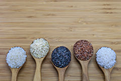 Variety of rice in wood spoon on wood background Stock Photo
