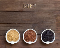 Variety of rice and word Diet Royalty Free Stock Photography
