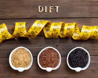 Variety of rice and word Diet Royalty Free Stock Photos