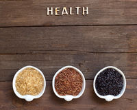 Variety of rice and word Health Royalty Free Stock Photo