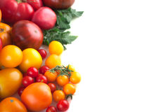 Variety of ripe tomatoes isolated Stock Photo