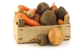 Variety of root vegetables in a wooden crate Stock Photos
