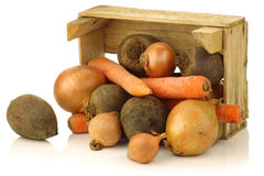 Variety of root vegetables in a wooden crate Royalty Free Stock Photography