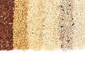 Variety rows of grain rice;  coarse red and white rice , millet Stock Images