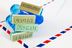 Variety of rubber stamp on air mail Stock Images