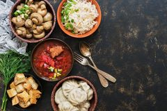 A variety of Russian food, borscht, pickled mushrooms, dumplings, sauerkraut, croutons on a dark rustic background. Top view, copy royalty free stock photography
