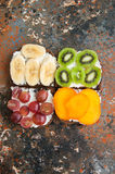 Variety of rye bread toasts with fruits. Stock Image