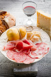 Variety of salami and cheese royalty free stock photos