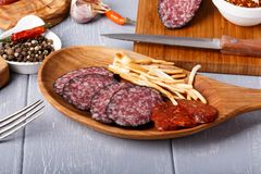 Variety of salami and cheese chechil royalty free stock photography