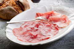 Variety of salami and ham Stock Image