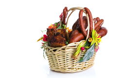 Variety of sausage products in basket stock footage