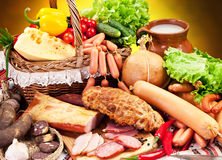 Variety of sausage products. Royalty Free Stock Photography