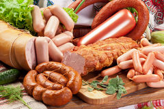 Variety of sausage products. Royalty Free Stock Photo