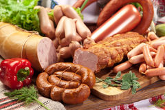 Variety of sausage products. Stock Images