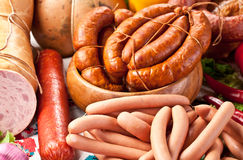 Variety of sausage products. Stock Image