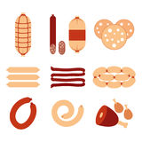 Variety of sausages and meat icons set vector flat design. Sausages isolated on white background stock vector.  Royalty Free Stock Photography