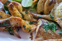 A variety of seafood grill close up macro. King prawns, crab langoustines and fish with torillas, cheese and lime. Royalty Free Stock Photos