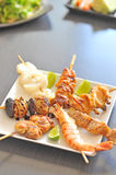 Variety of seafood grill on plate Stock Image