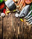 Variety of seafood shrimp, fish, and shellfish. Royalty Free Stock Photos