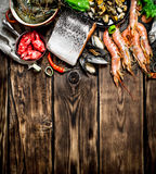 Variety of seafood from shrimp, shellfish and other marine life. Royalty Free Stock Photo