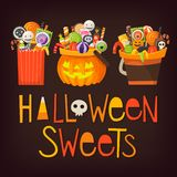 Buckets with halloween sweets royalty free illustration