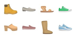 A variety of shoes icons in set collection for design.  Stock Photography