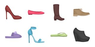 A variety of shoes icons in set collection for design.  Royalty Free Stock Images