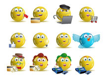 variety shopping online yellow smile icon avatar Stock Images