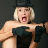 Variety show woman screams. Royalty Free Stock Image