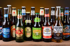 Variety of Single Beer Bottles Royalty Free Stock Photos
