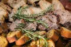 Variety of Sliced Bread with Rosemary Herb Stock Photography