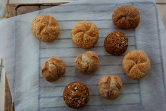 Variety of small breads with seeds Royalty Free Stock Images