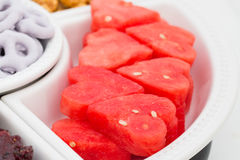 Variety of snacks, close up of water melon. Stock Images