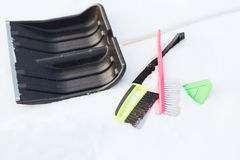 Variety of snow cleaning equipment on snow Stock Photography