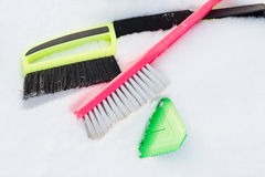 Variety of snow cleaning equipment on snow Stock Photos