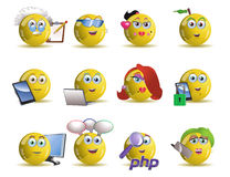variety social network yellow smile icon avatar cartoon Royalty Free Stock Photography