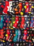 Variety of socks featuring different American professional sport teams Royalty Free Stock Image
