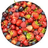 Variety of soft fruits, strawberries, raspberries, cherries, blueberries, currants. Isolated on white Stock Image
