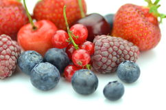 Variety of soft fruits, strawberries, raspberries, cherries, blueberries, currants Royalty Free Stock Photos