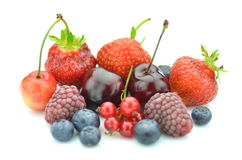 Variety of soft fruits, strawberries, raspberries, cherries, blueberries, currants. Isolated on white Stock Photo