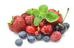 Variety of soft fruits, strawberries, raspberries, Stock Photo