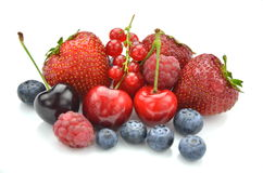 Variety of soft fruits, strawberries, raspberries, Stock Photography